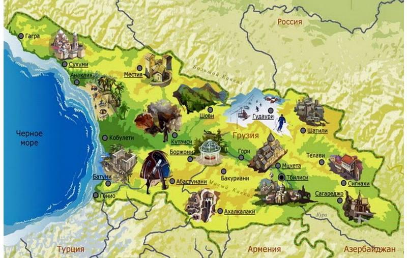 физическая карта грузии